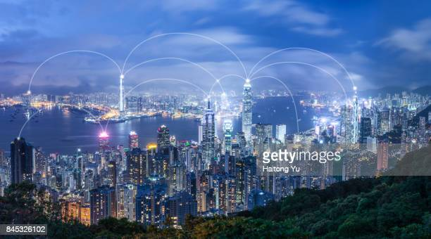 Hong Kong skyline. Communication concept.
