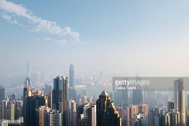 Hong Kong skyline on a sunny morning