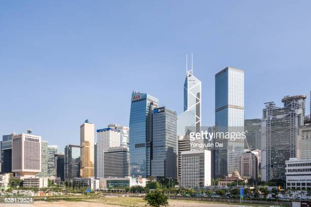 hong kong skyline - central stock pictures, royalty-free photos & images