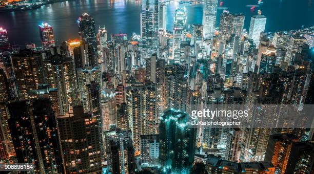 hong kong skyline - kowloon peninsula stock pictures, royalty-free photos & images