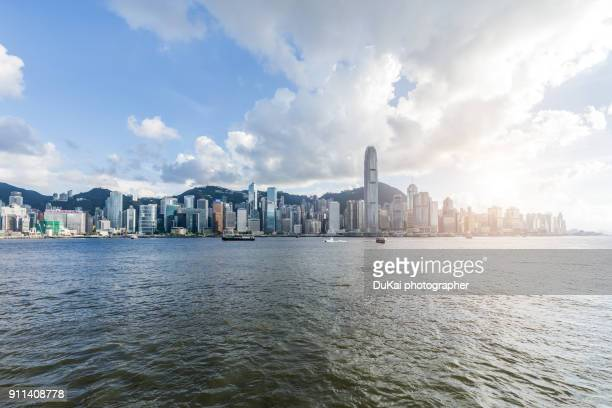 hong kong skyline - hong kong victoria harbour stock pictures, royalty-free photos & images