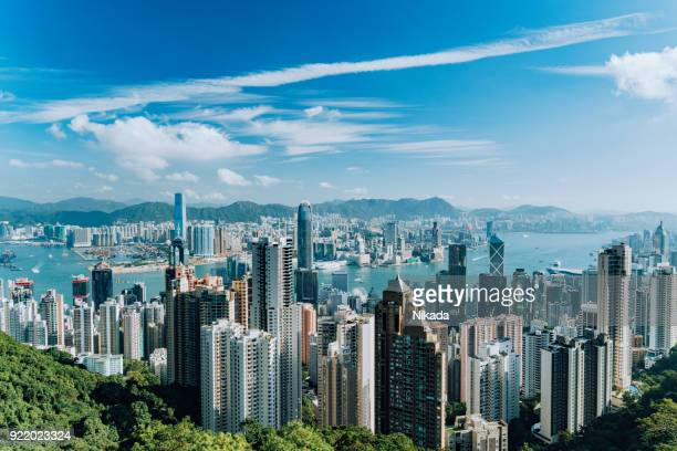 hong kong skyline - tsim sha tsui stock pictures, royalty-free photos & images