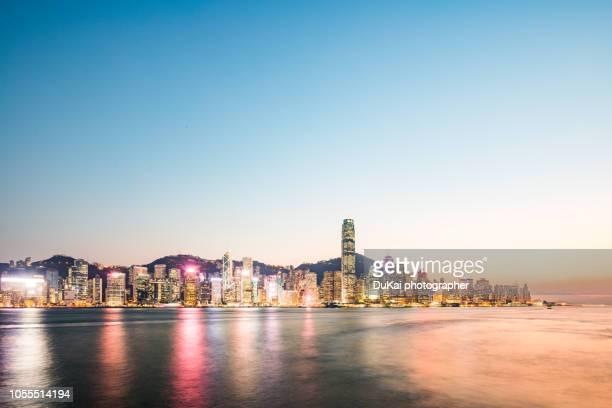 Hong kong, skyline sunset