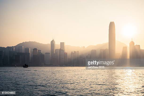 hong kong skyline view from victoria harbour