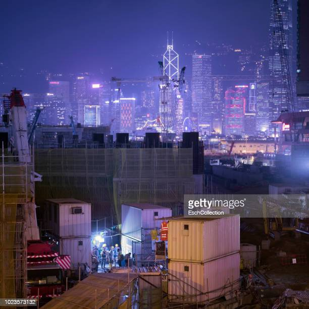Hong Kong skyline with large construction site in front