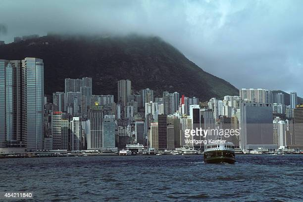 Hong Kong Star Ferry In Front Of Skyline