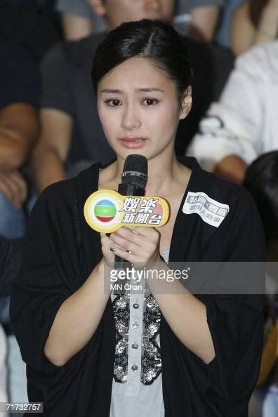 Hong Kong star Gillian Chung speaks while attending a news