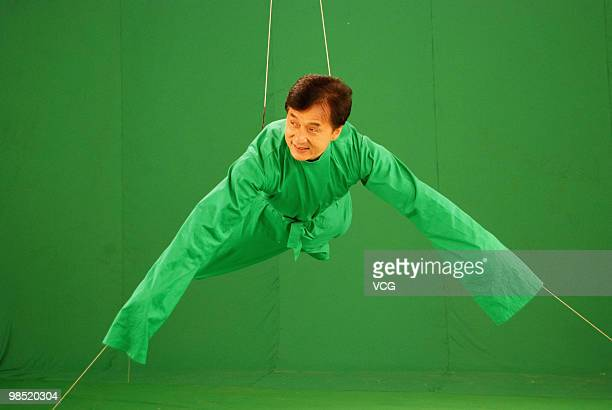 Hong Kong star Jackie Chan records propaganda film for the 16th Asian Games which will be held in Guangzhou, on April 17, 2010 in Shanghai, China.