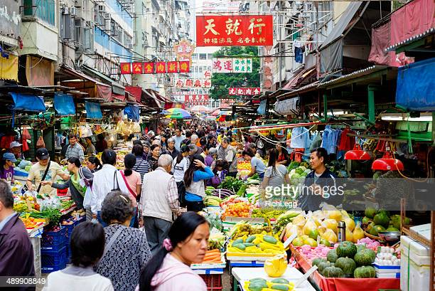 hong kong street market - kowloon peninsula stock pictures, royalty-free photos & images