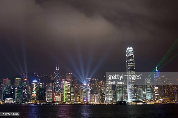 hong kong symphony of laser light show, china - victoria harbour hong kong stockfoto's en -beelden