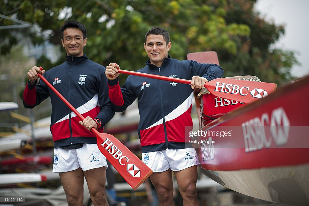 Hong Kong team players Salom Yiu Kam-Shing and Rowan Varty get a Dragon Boat lesson with HSBC Ambassadors Jonathan Davies, George Gregan and Gavin Hastings together at Deep Water Bay ahead the Cathay Pacific / HSBC Hong Kong Sevens on March 21, 2013 in Hong Kong.