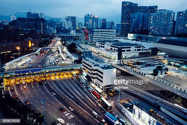 Hong Kong traffic and toll gates, aerial view
