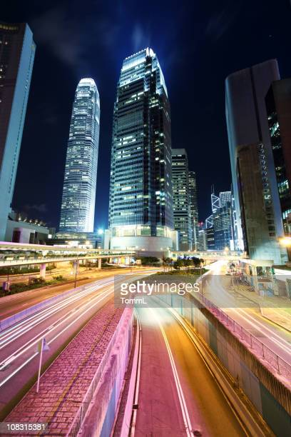 hong kong, traffic at night - mid section stock photos and pictures