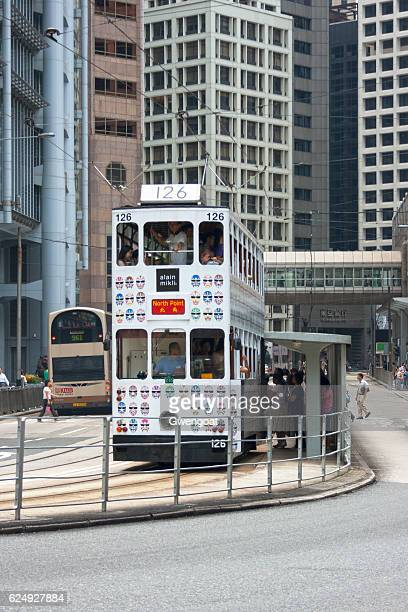 hong kong tram - gwengoat stock pictures, royalty-free photos & images