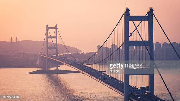 Hong Kong Tsing Ma Bridge at sunset