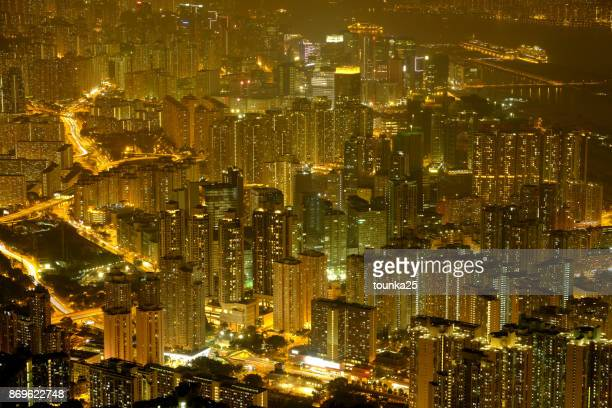 hong kong urban area at night scene - kowloon peninsula stock pictures, royalty-free photos & images