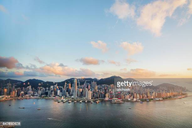 Hong Kong Victoria Harbor from Air
