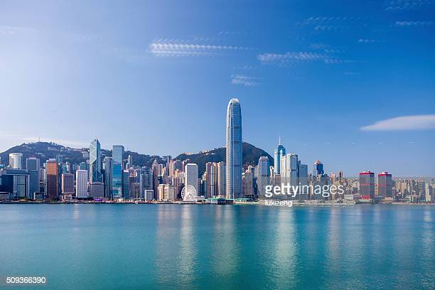 hong kong victoria harbor - hong kong stock pictures, royalty-free photos & images