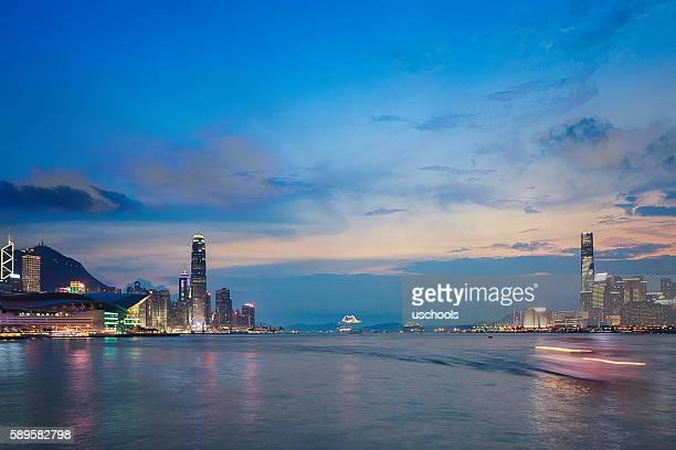 Hong Kong Victoria Harbour at Sunset