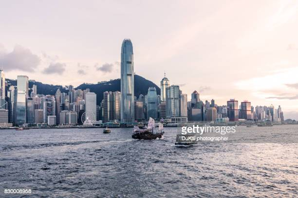 hong kong victoria harbour - hong kong stock pictures, royalty-free photos & images