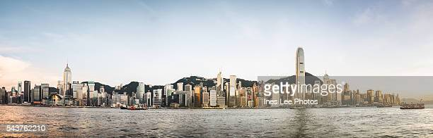 Hong Kong Victoria Harbour Sunset Panorama