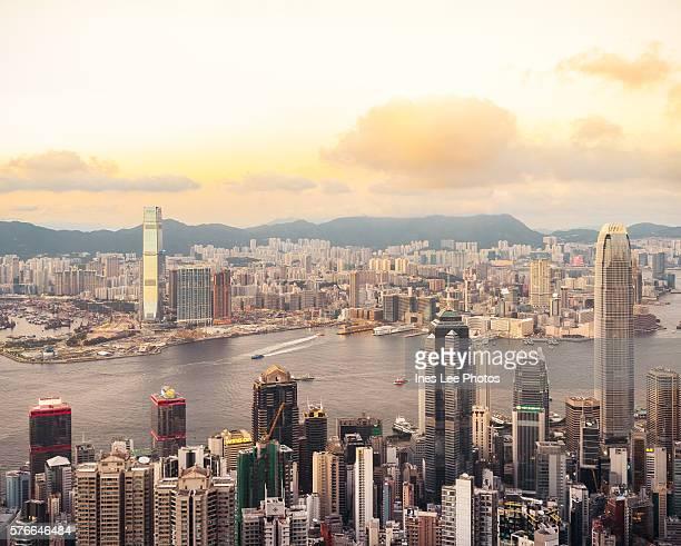 Hong Kong Victoria Harbour Sunset Panorama