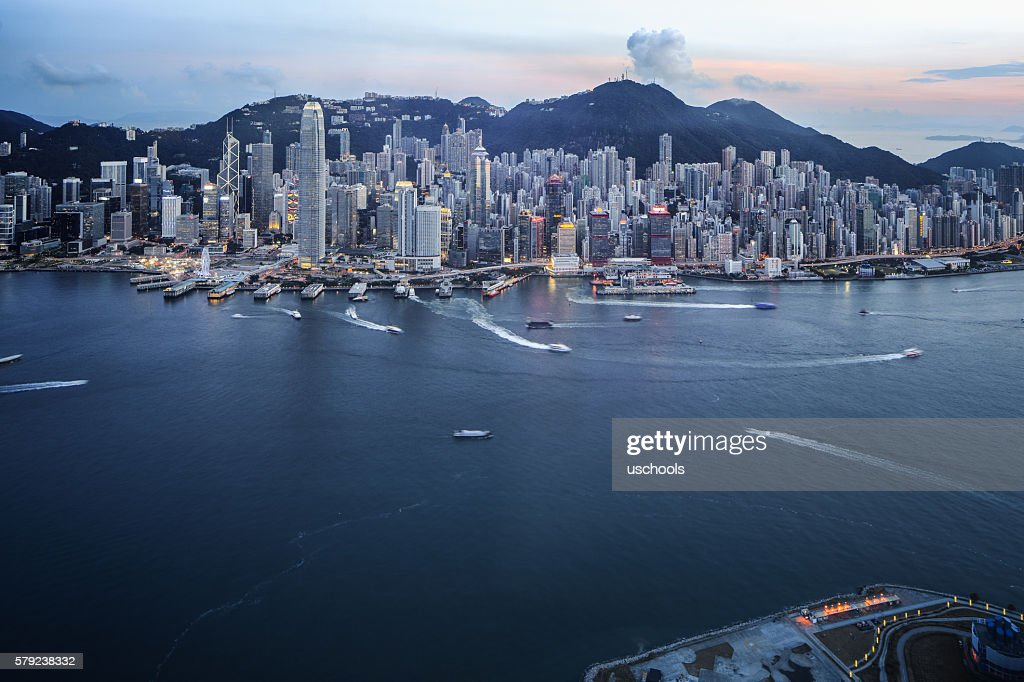 Hong Kong Victoria Harbour with Cross-Harbour Tunnel : Stock Photo