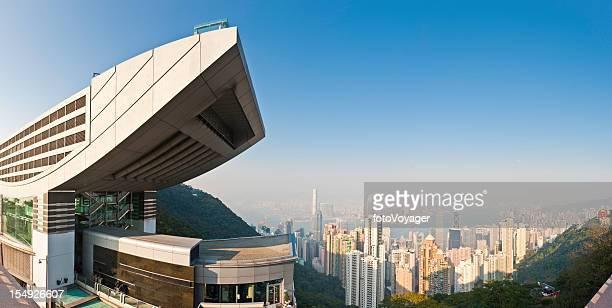 hong kong victoria peak tower view skyscrapers harbor panorama china - tsim sha tsui stock pictures, royalty-free photos & images