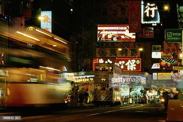 Hong Kong, Wan Chai Road, neon signs and traffic at night