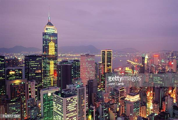 Hong Kong, Wanchai, view over city to Central Plaza at dusk