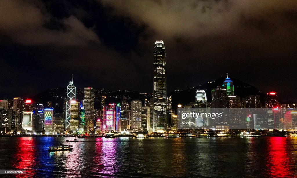 Hong Kong waterfront at night II : Stockfoto