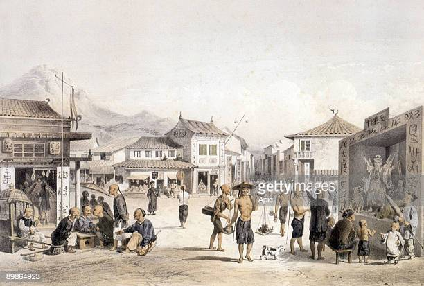 Hong Kong Wellington street and Lyndhurst terrace engraving by Laurens after Andrasi c 1890