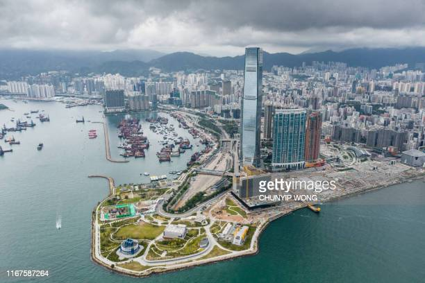 hong kong west kowloon cultural district from air - kowloon peninsula stock pictures, royalty-free photos & images
