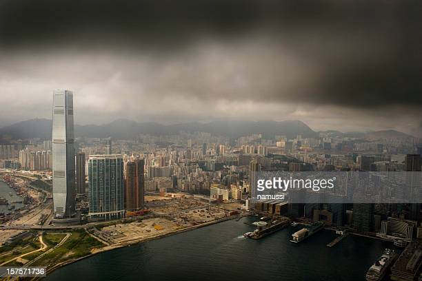hong kong west kowloon - ominous stock photos and pictures