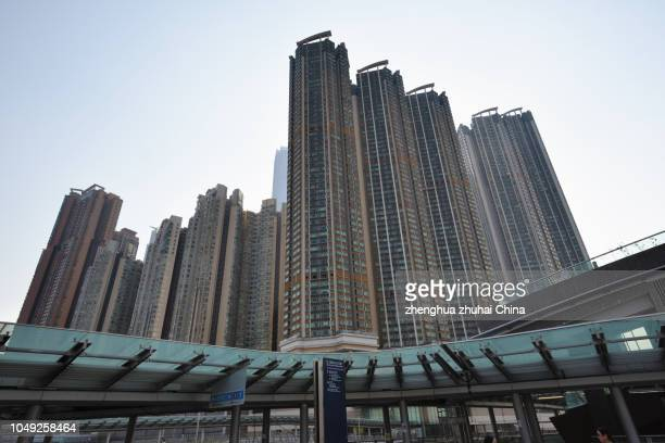 hong kong west kowloon residential building - hong kong stock pictures, royalty-free photos & images