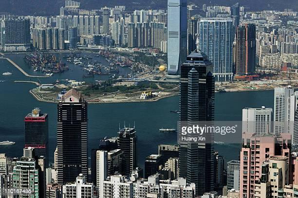 hong kong western part skyline - 中環中心 ストックフォトと画像