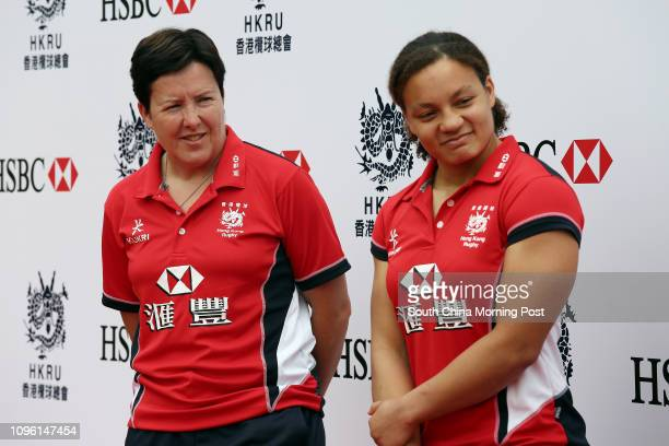 Hong Kong Women's Sevens Team Head Coach Anna Richards and Captain Natasha Shangwe OlsonThorne at the team announcements presser at King's Park...