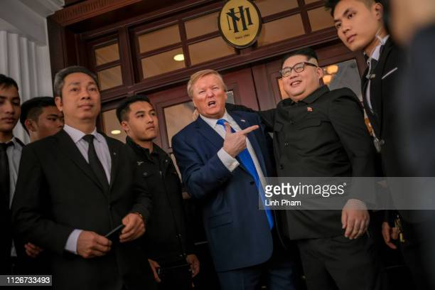 Hong Kongbased Kim JungUn impersonator 'Howard X' and Donald Trump lookalike 'Russell White' from Canada are seen visiting Sofitel Legend Metropole...
