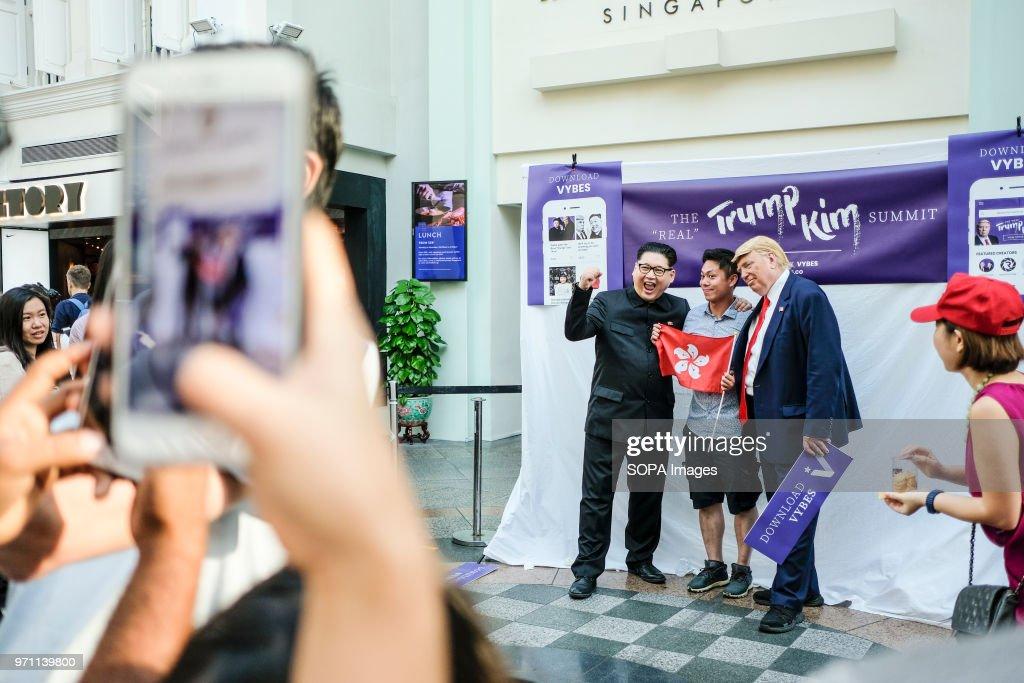 Hong Kong-based Kim Jung-Un impersonator Howard X, and Trump... : News Photo