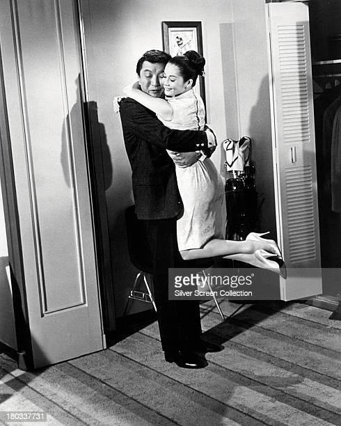 Hong Kongborn actress Nancy Kwan as Linda Low and Japanese American actor Jack Soo as Samuel Adams 'Sammy' Fong in 'Flower Drum Song' directed by...