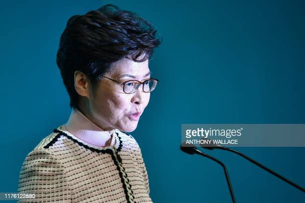 Hong Kong's Chief Executive Carrie Lam speaks at a press conference in Hong Kong on October 16 after she tried twice to begin her annual policy...