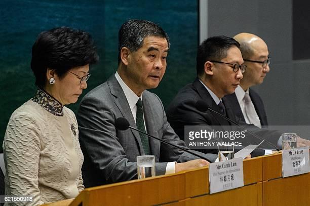 Hong Kong's Chief Secretary for Administration Carrie Lam, Hong Kong Chief Executive Leung Chun-ying, Secretary for Justice Rimsky Yuen and Secretary...