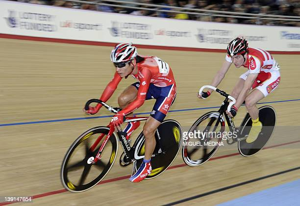 Hong Kong's Ki Ho Choi competes during the men's Point Race Heat 1 qualification round at the UCI Track Cycling World Cup a test event for the London...