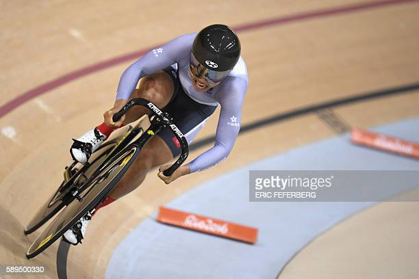 Hong Kong's Lee Wai Sze competes in the Women's sprint qualifying track cycling event at the Velodrome during the Rio 2016 Olympic Games in Rio de...