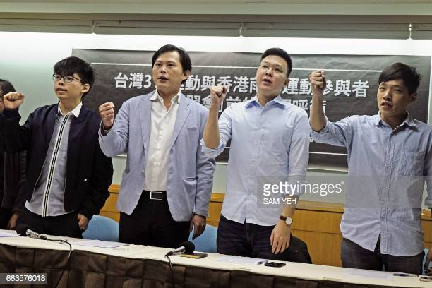 Hong Kong's prodemocracy activist Joshua Wong Taiwan's New Power Party chairman Huang Kuochang Taiwan's 'Sunflower Movement' leaders Li Feifan and...