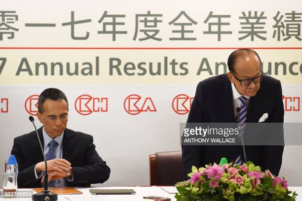 Hong Kong's richest man Li Kashing attends a press conference with his eldest son Victor in Hong Kong on March 16 2018 Hong Kong's richest man Li...