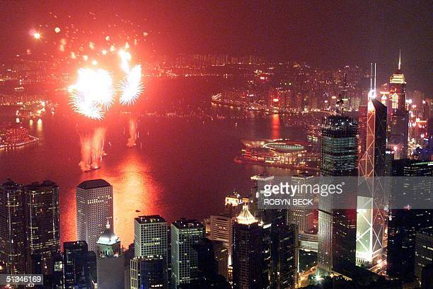 Hong Kong's skyline is red as fireworks explode over Victoria Harbor to celebrate Chinese National Day 01 October It is the second time that the...