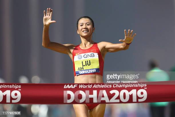 Hong Liu of China crosses the finish line to win gold in the Women's 20km Race Walk final during day three of 17th IAAF World Athletics Championships...