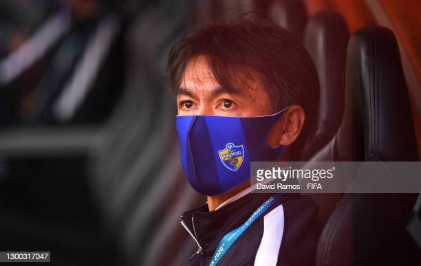 Hong Myung-bo, Manager of Ulsan Hyundai looks on prior to the FIFA Club World Cup Qatar 2020 Second Round match between Tigres UANL and Ulsan Hyundai...