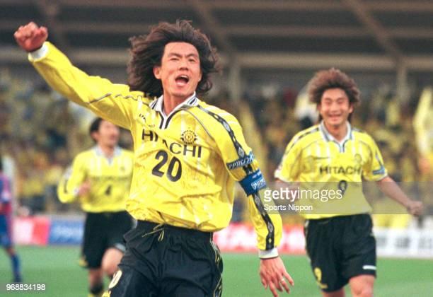 Hong Myungbo of Kashiwa Reysol celebrates scoring his side's third goal during the JLeague Division 1 match between Kashiwa Reysol and FC Tokyo at...